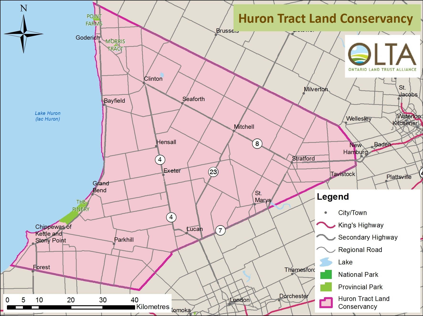 Huron Tract Land Trust Conservancy area of operations map