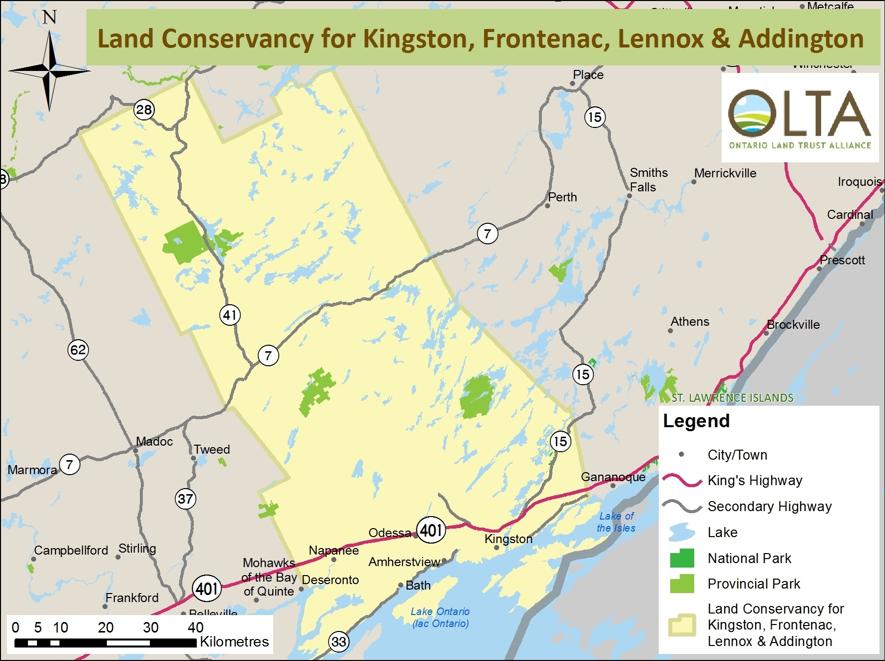 Land Conservancy for Kingston, Frontenac, Lennox and Addington area of operations map