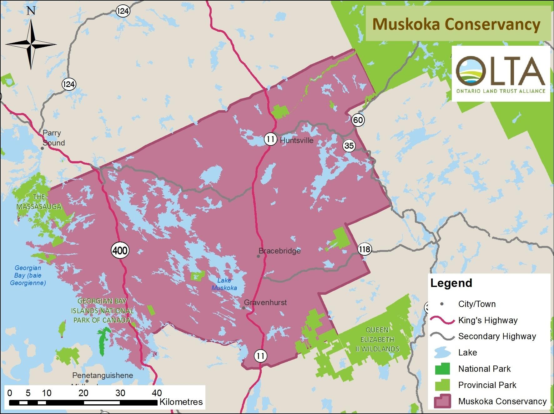 Muskoka Conservancy area of operations map