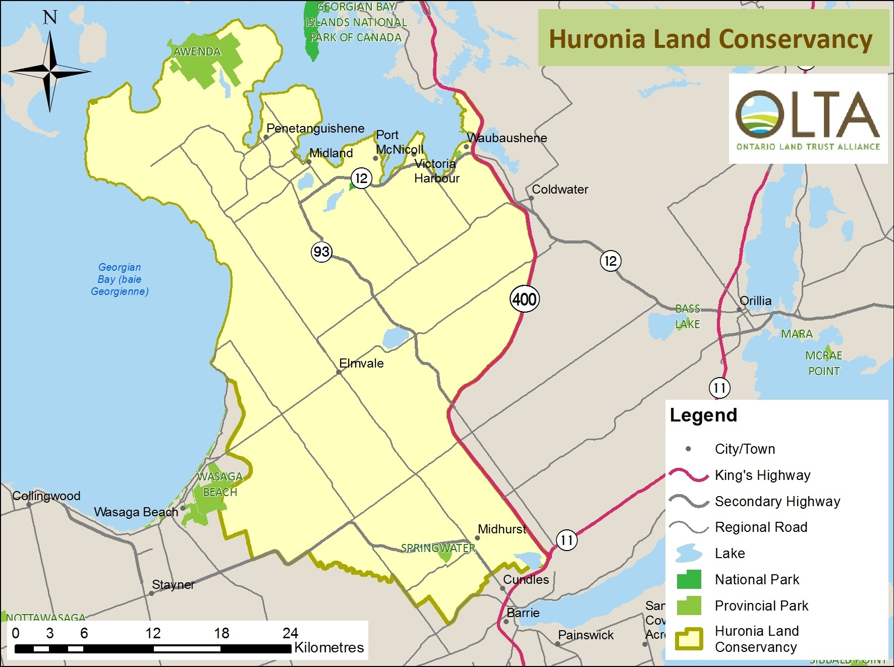 Huronia Land Conservancy area of operation map