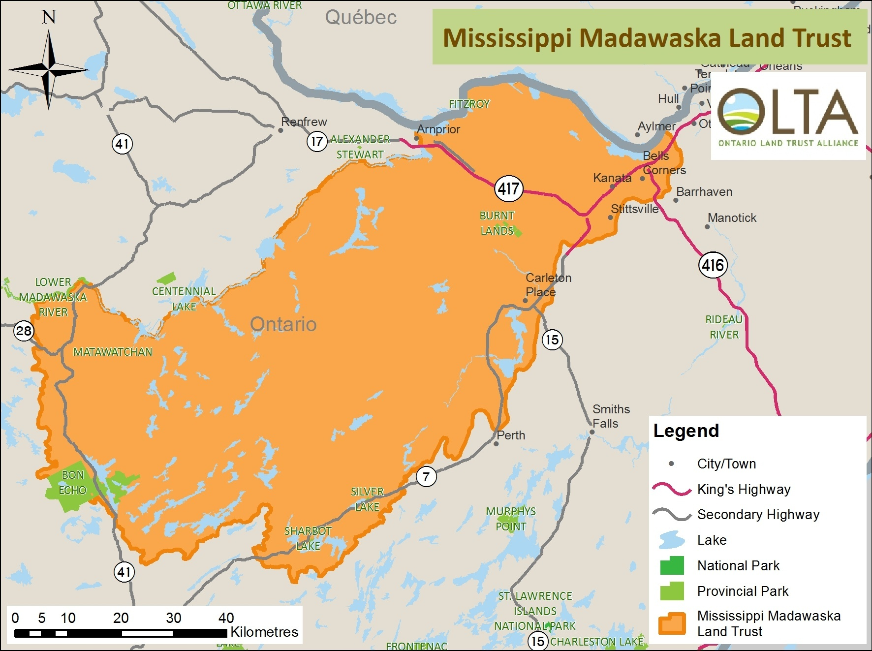 Mississippi Madawaska Land Trust area of operations map