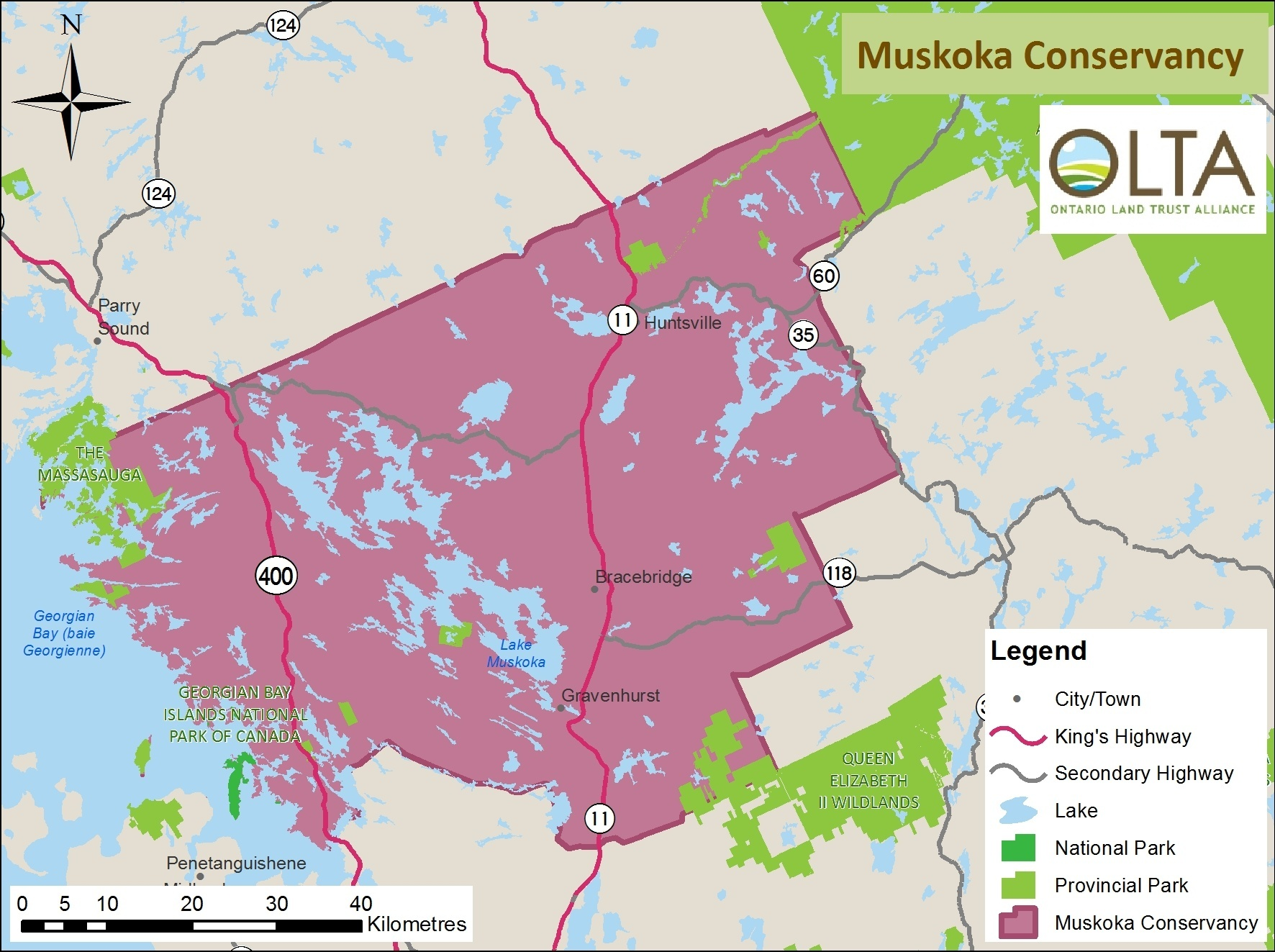 Muskoka Conservancy area of operations map