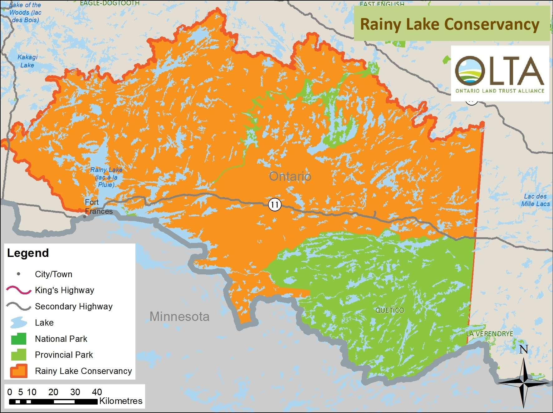 Rainy Lake Conservancy area of operations map