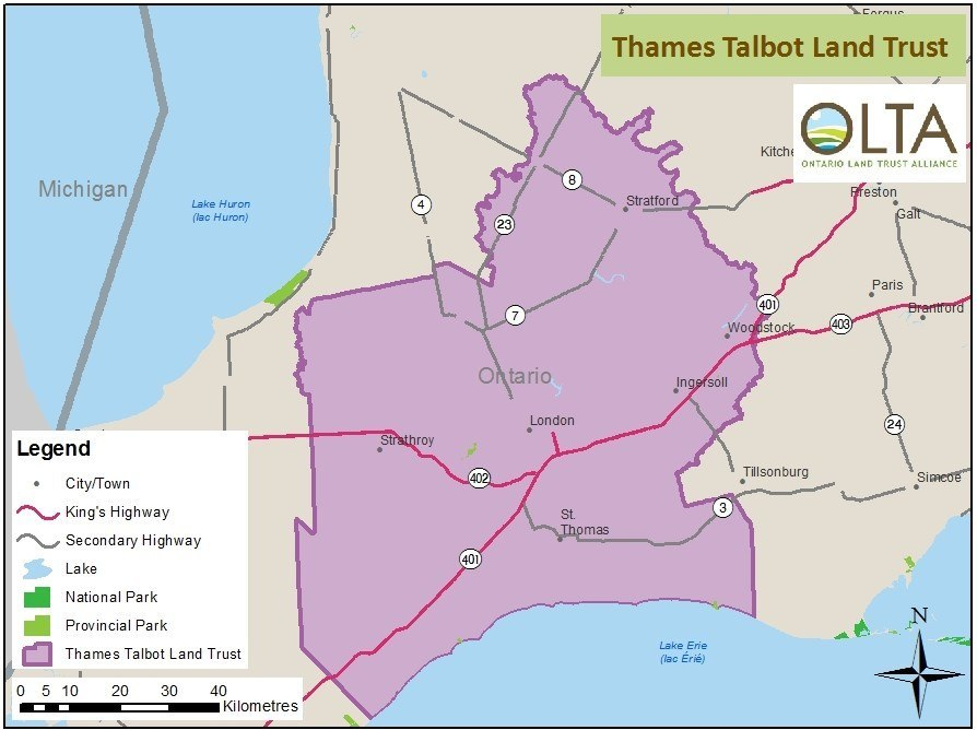 Thames Talbot Land Trust area of operations map