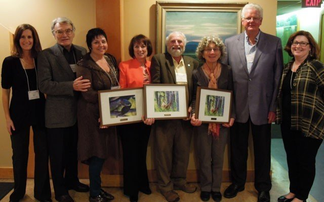 From left to right: Thea Silver, OLTA Executive Director; Frank Shaw, Oak Ridges Moraine Land Trust; Susan Walmer, Oak Ridges Moraine Land Trust; Patricia Short-Gallé, Oak Ridges Moraine Land Trust; Ron Reid, Couchiching Conservancy; Judy and Lou Probst; Tanna Elliott, Chair, OLTA Governors.